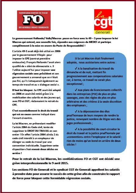 Tract FO & CGT Generali du 20 février 2015 : Grève 9 avril contre le projet de loi Macron