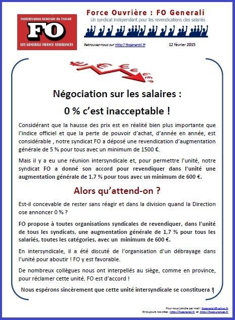 Tract FO Generali du 12 février 2015