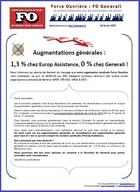 Tract FO Generali du 18 février 2015