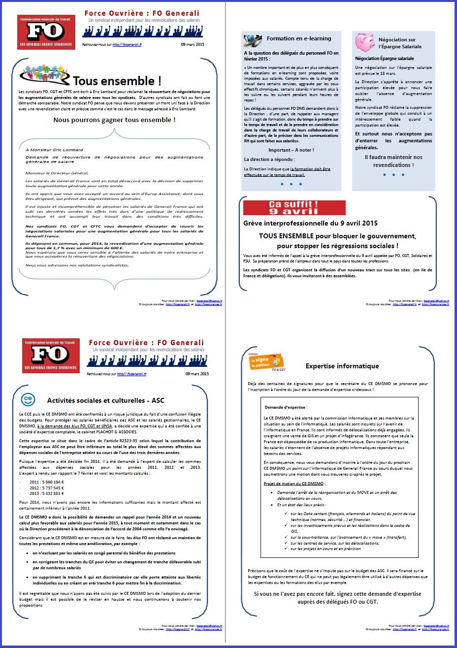 Tract FO Generali du 09 mars 2015
