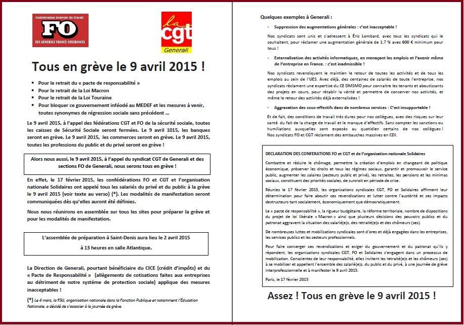 Tract FO & CGT Generali - Appel à la grève du 9 avril 2015