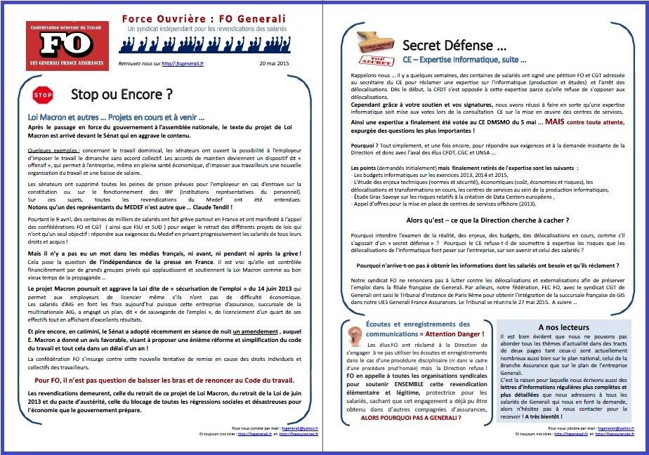 Tract FO Generali du 20 MAI 2015