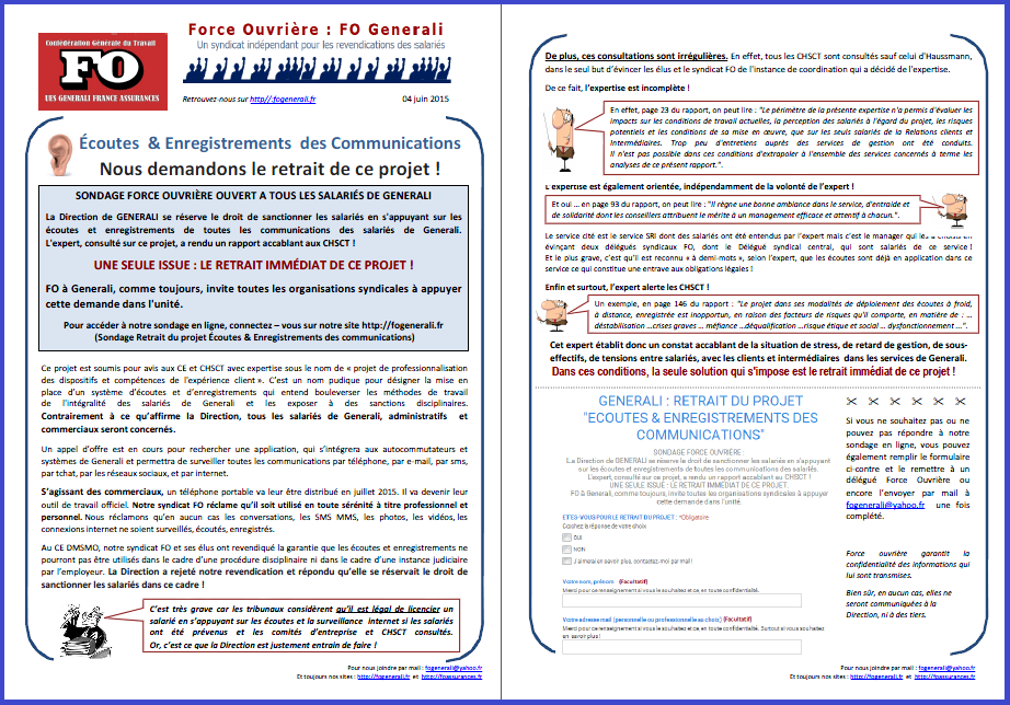 Tract FO Generali du 04 JUIN 2015
