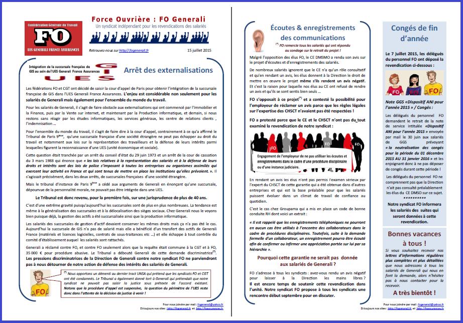 Tract FO Generali du 15 juillet 2015