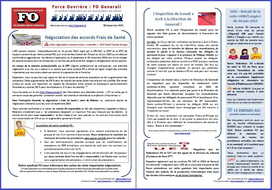 Tract FO Generali du 08 septembre 2015