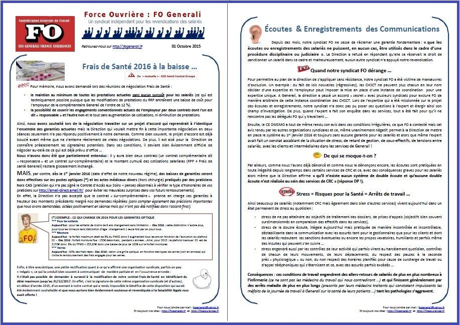 Tract FO Generali du 01 Octobre 2015
