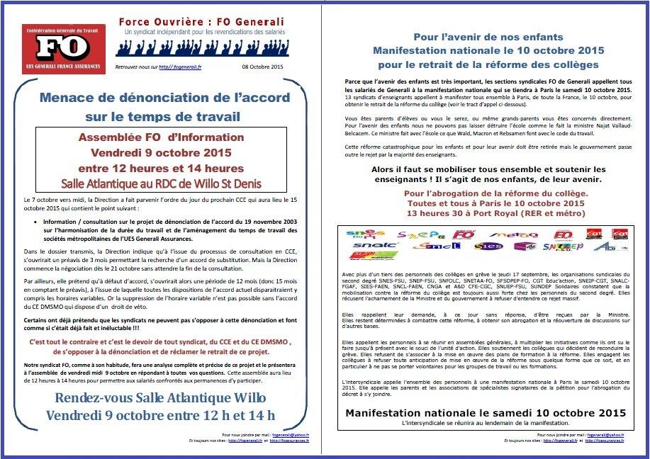 Tract FO Generali du 08 Octobre 2015