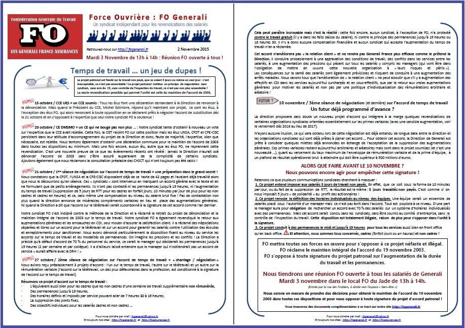 Tract FO Generali du 02 Novembre 2015