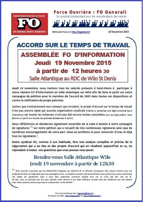 Tract FO Generali du 18 Novembre 2015