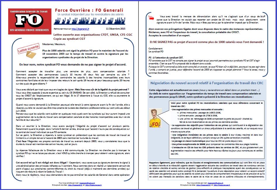 Tract FO Generali du 11 Décembre 2015