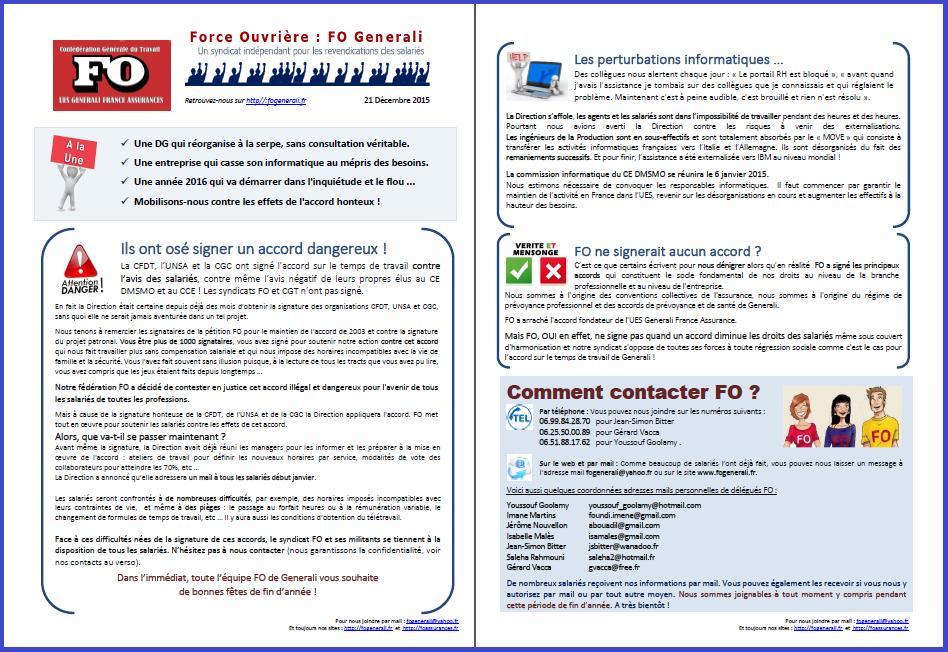 Tract FO Generali du 21 Décembre 2015