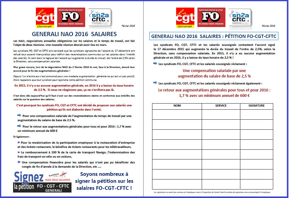 PETITION FO CGT CFTC GENERALI NAO SALAIRES FEVRIER 2016