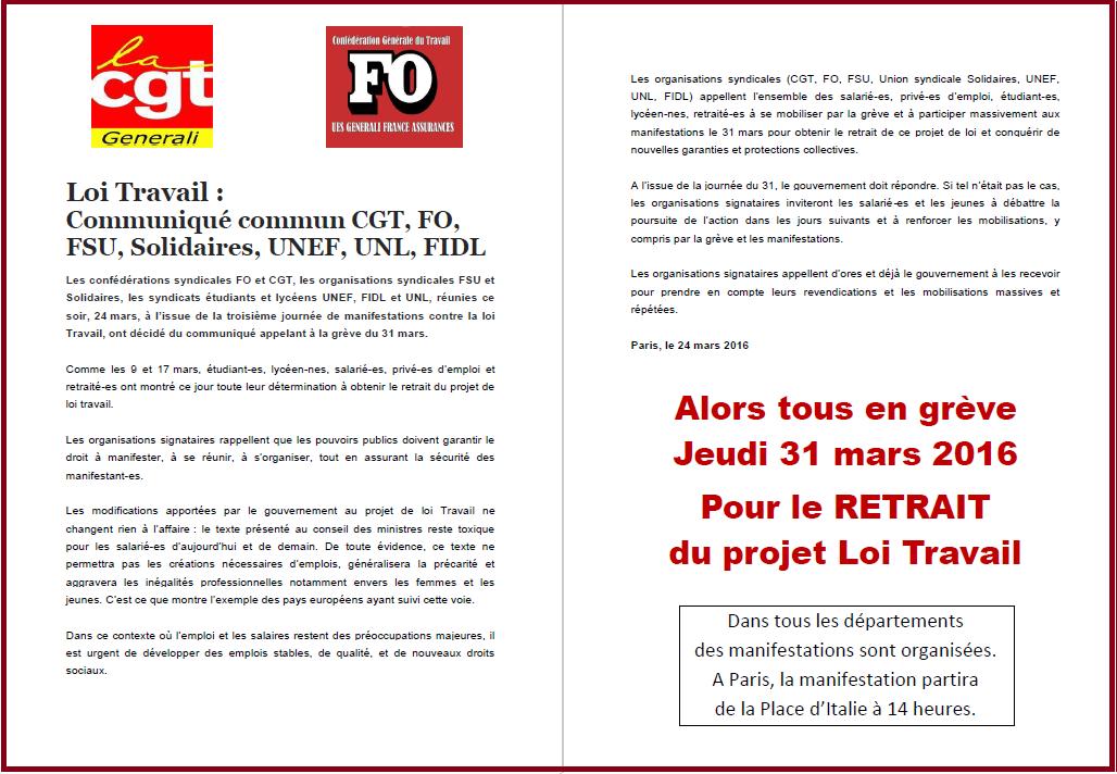Tract commun FO & CGT Generali du 30 mars 2016