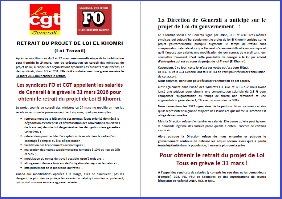 Tract commun FO & CGT Generali du 23 mars 2016