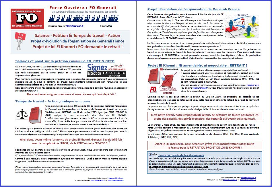 Tract FO Generali du 04 mars 2016