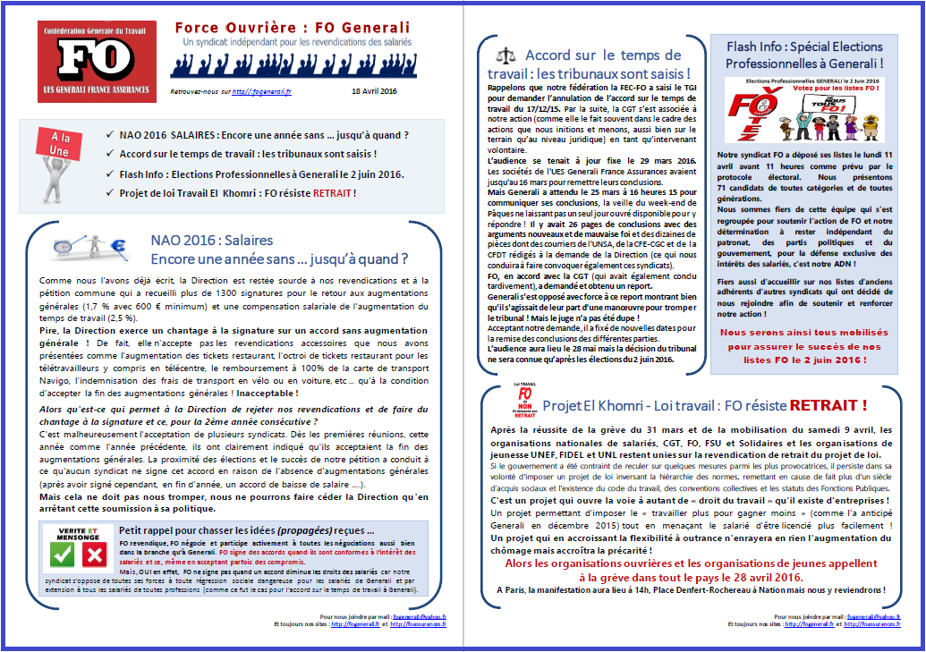 Tract FO Generali du 18 Avril 2016