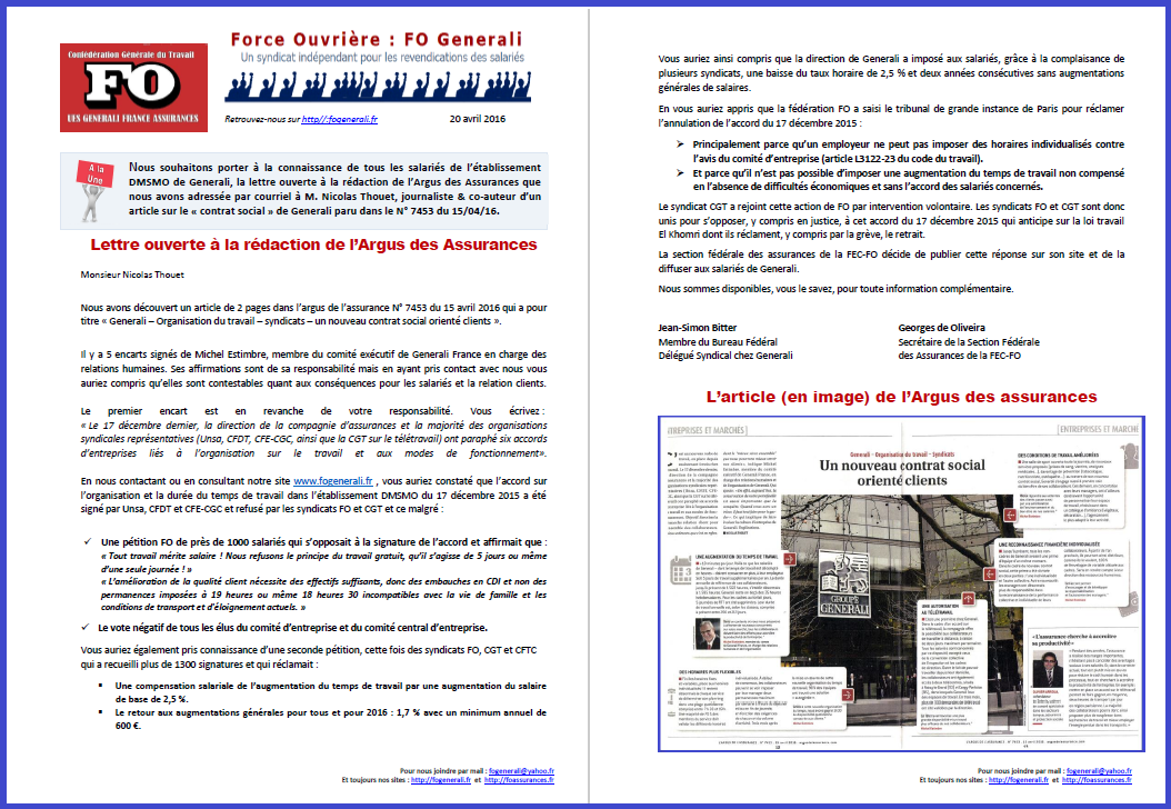 Tract FO Generali du 20 Avril 2016