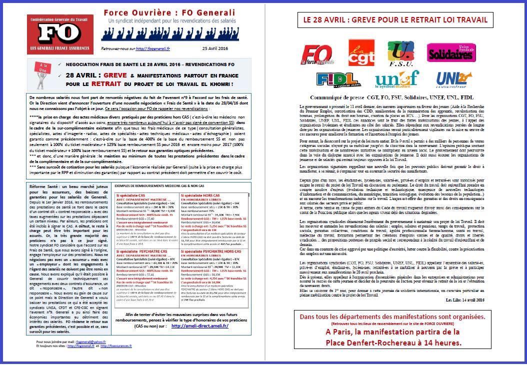 Tract FO Generali du 25 Avril 2016