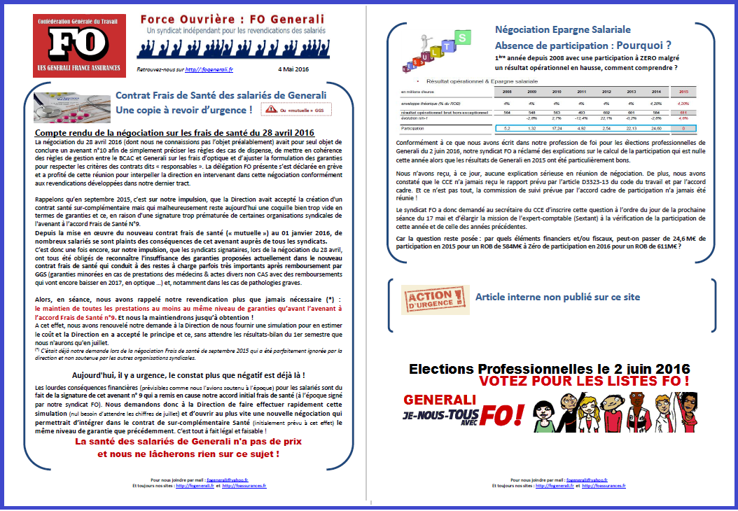 Tract FO Generali du 04 Mai 2016