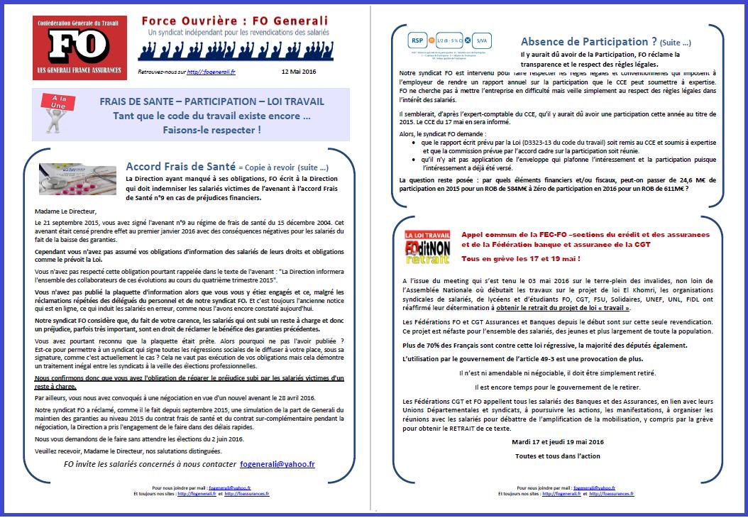 Tract FO Generali du 16 Mai 2016