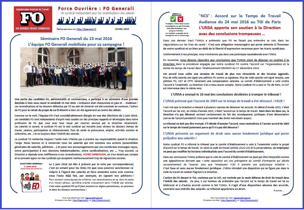 Tract FO Generali du 18 Mai 2016