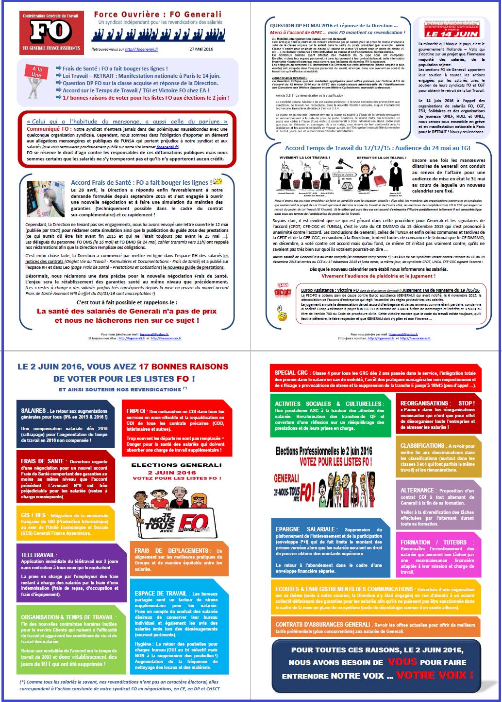 Tract FO Generali du 27 Mai 2016