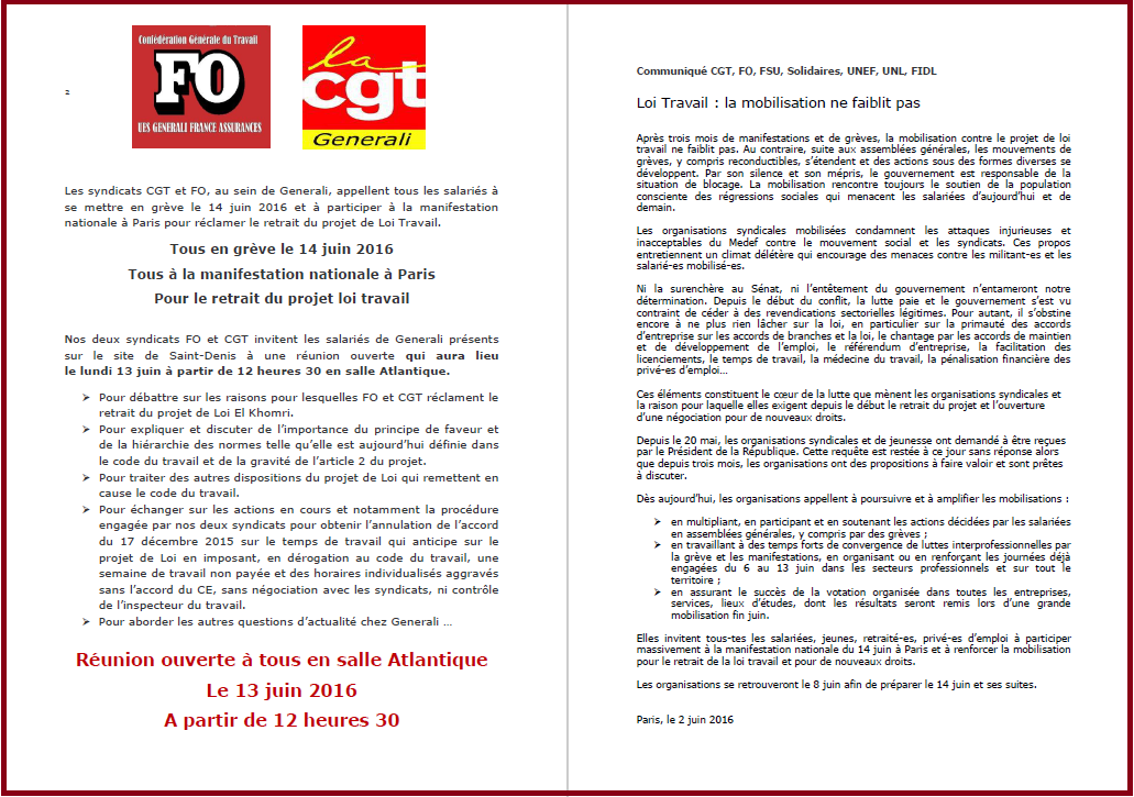 Tract commun FO & CGT Generali Grève du 14 juin