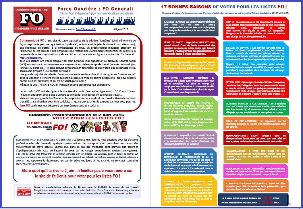 Tract FO Generali du 01 Juin 2016