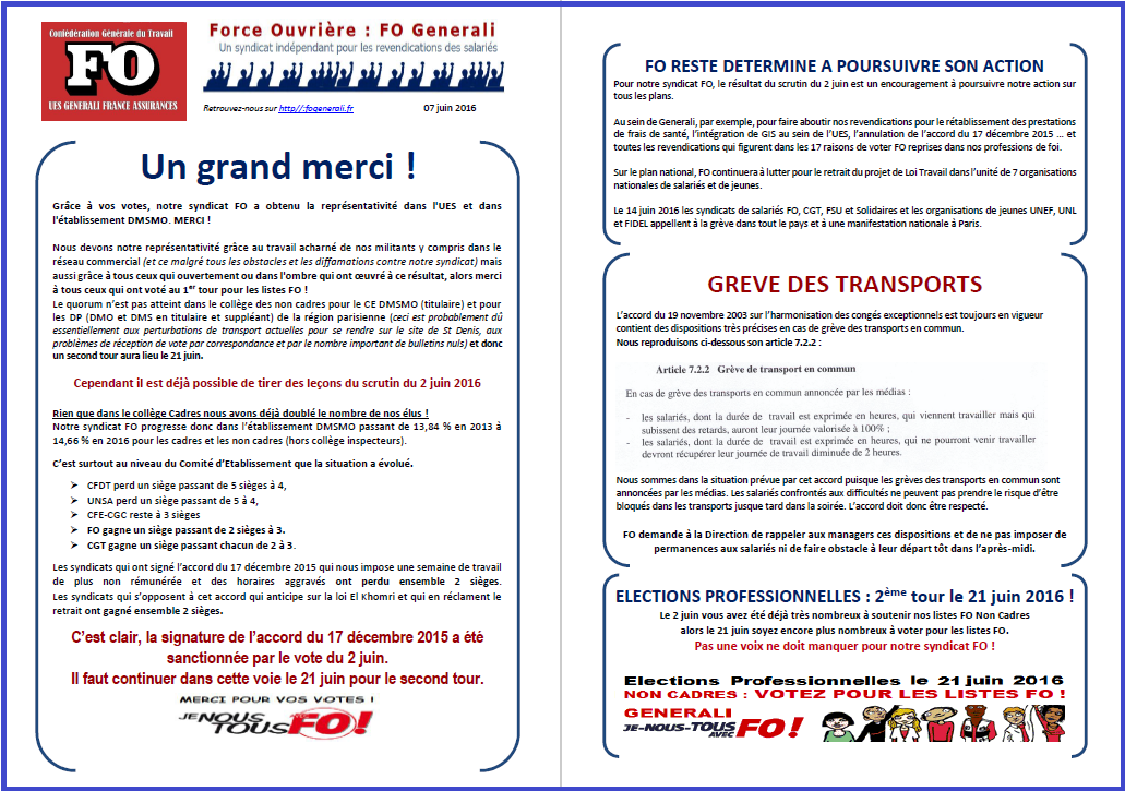 Tract FO Generali du 07 Juin 2016