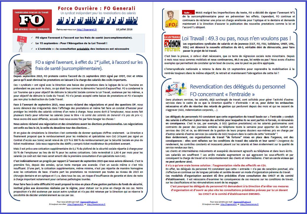 Tract FO Generali : Frais de Santé, Loi Travail,