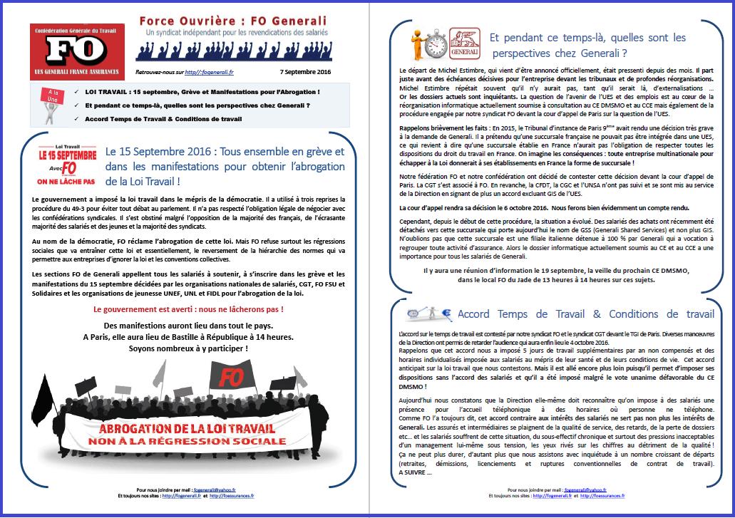 Tract FO Generali : Abrogation Loi Travail, Perspectives chez Generali, Temps & Conditions de Travail dans 0 - Accord Temps Travail tract-fo-generali-07-09-16