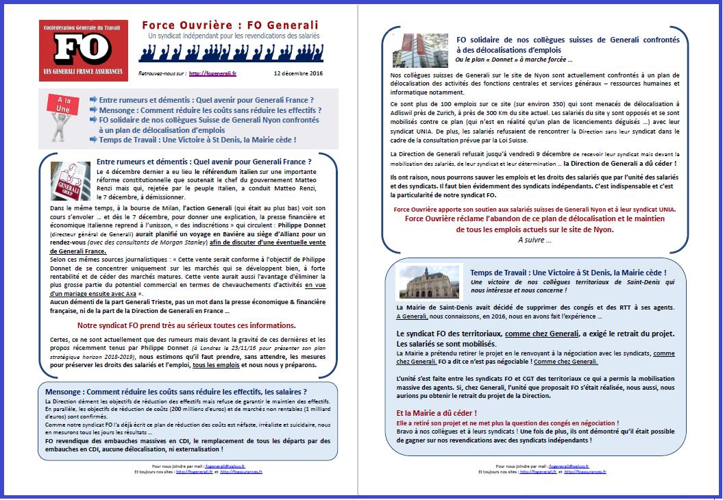Tract FO Generali : Avenir Generali France, Réduction des coûts, FO solidaire des salariés de Generali Nyon, Victoire à St Denis dans 01 - Flash Info tract-fo-generali-12-12-16