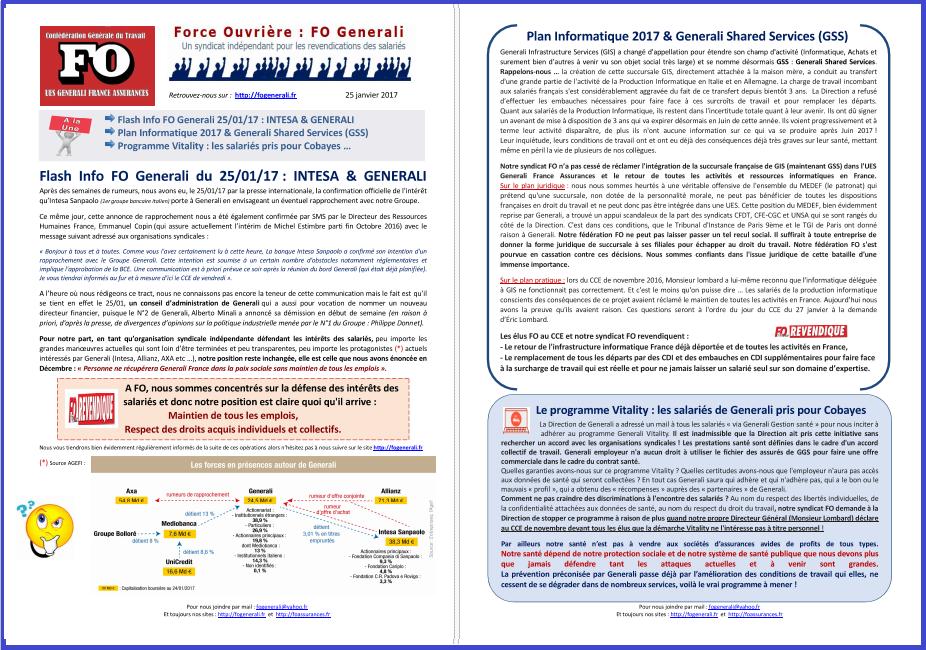 Tract FO Generali : Rapprochement Intesa & Generali, Plan Informatique 2017 & GSS, Programme Vitality  dans 1 - Revendications tract-fo-generali-25-01-17