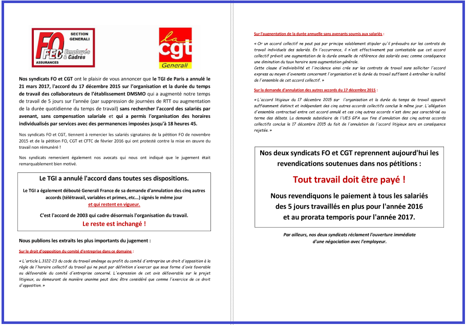 Tract commun FO & CGT Generali - Contestation Accord Temps de Travail , le TGI de Paris nous donne raison dans 0 - Accord Temps Travail tract-commun-fo-et-cgt-generali-decision-tgi-paris-21-mars-2017