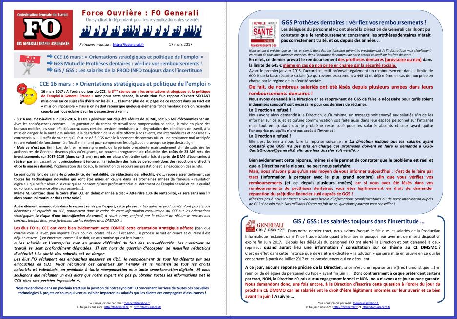 Tract FO Generali : Orientation stratégique & Emploi, GGS Remboursements dentaires, GIS/GSS Incertitudes dans 1 - Revendications tract-fo-generali-17-03-17