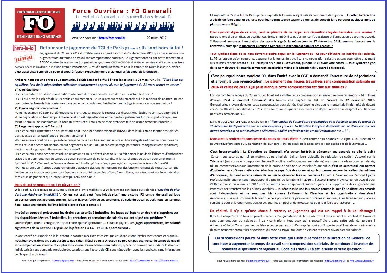 Tract FO Generali : Jugement du TGI de Paris du 21 mars 2017 : Ils sont hors-la-loi ! dans 0 - Accord Temps Travail tract-fo-generali-29-03-17