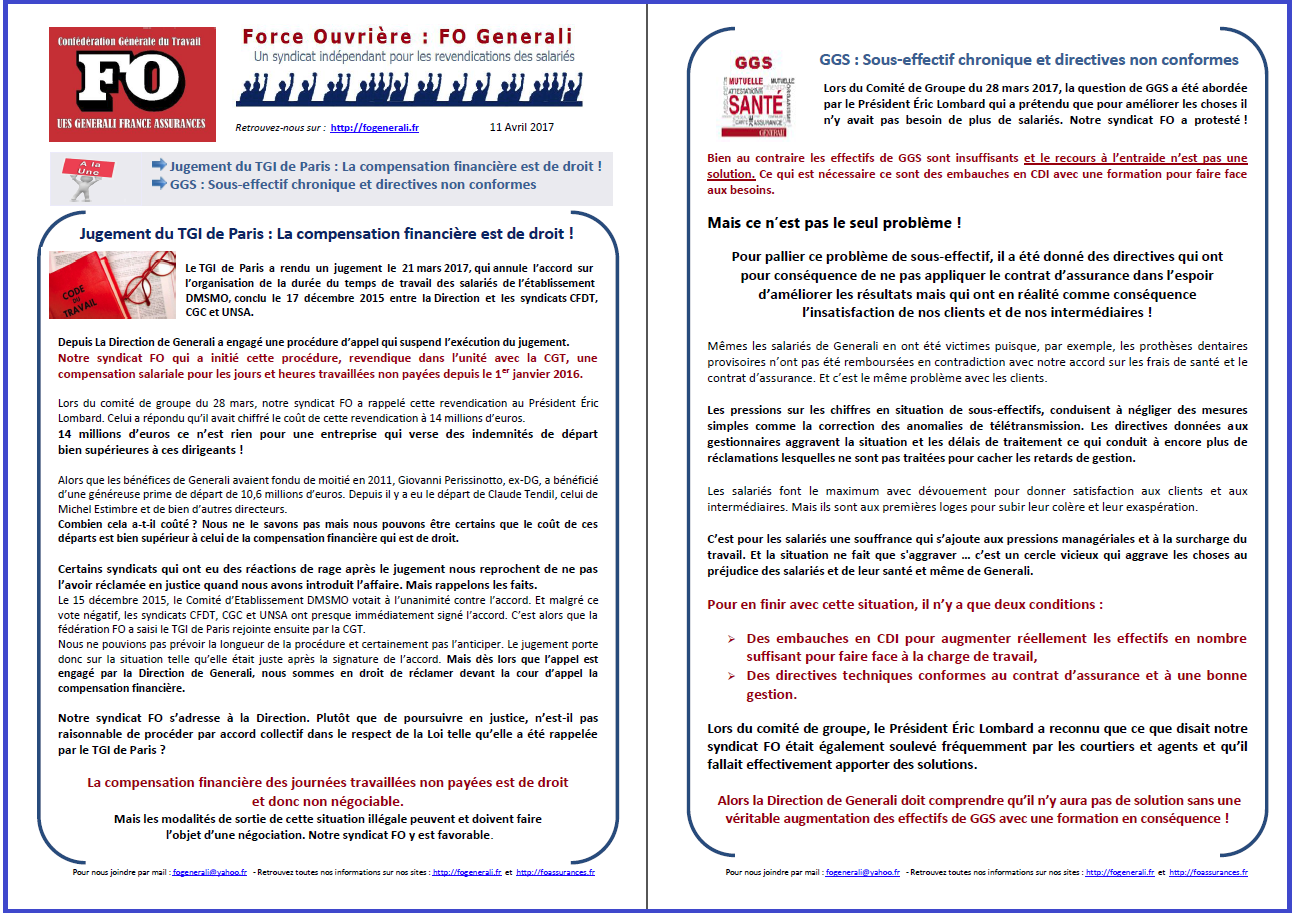 Tract FO Generali : Jugement TGI Compensation financière & GGS dans 0 - Accord Temps Travail tract-fo-generali-11-04-17