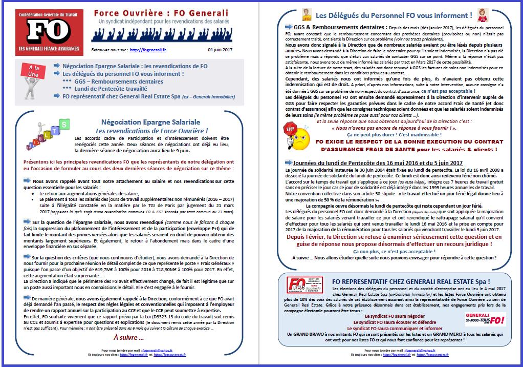 Tract FO Generali : Epargne Salariale, GGS, Pentecôte, FO représentatif GRE dans 0 - Accord Temps Travail tract-fo-generali-01-06-17