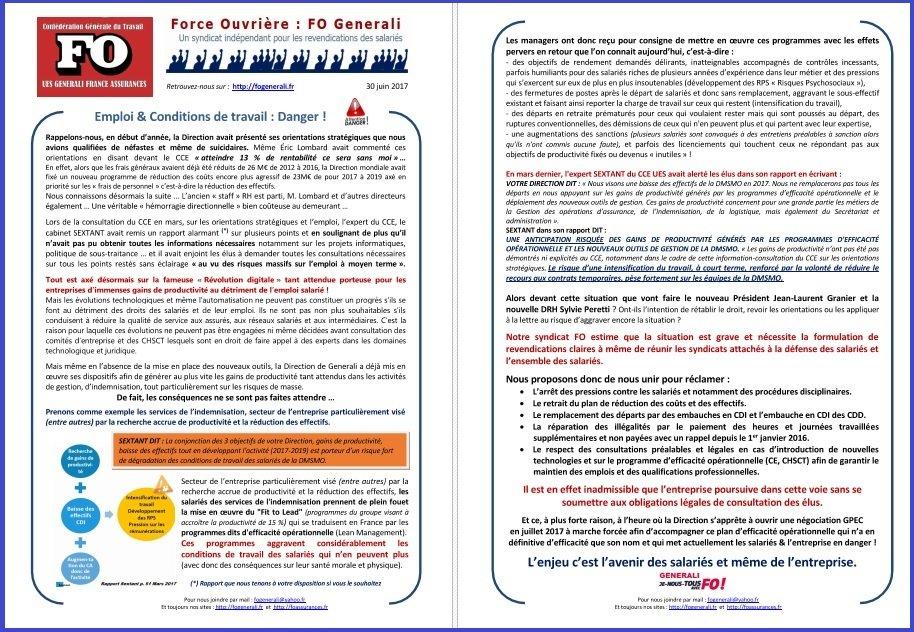 Tract FO Generali : Emploi & Conditions de Travail = Danger ! dans 1 - Revendications tract-fo-generali-30-06-2017