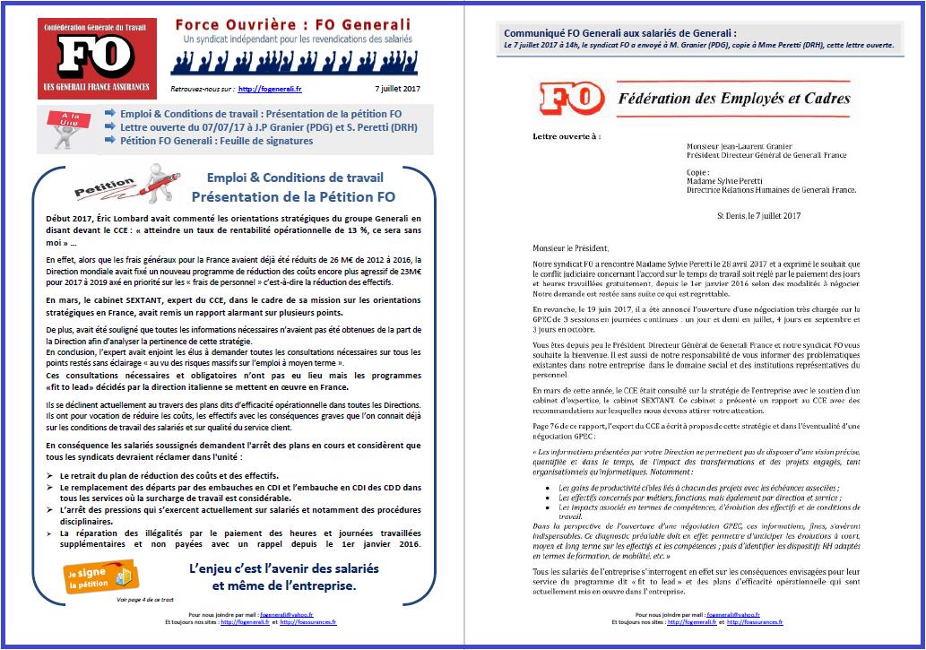 Tract FO Generali : Pétition FO & Lettre ouverte à M. Granier  dans 1 - Revendications tract-fo-generali-07-07-17-p1