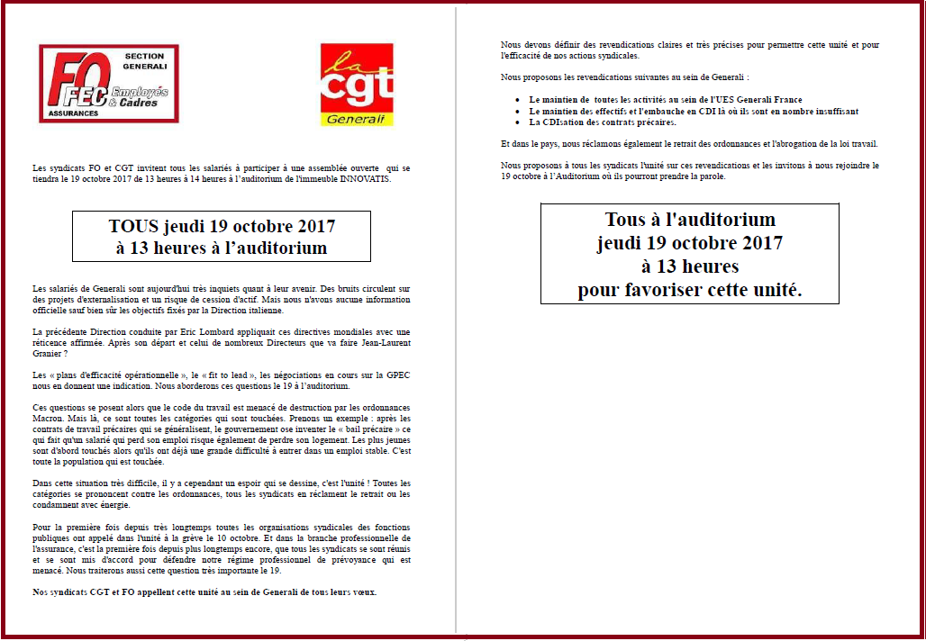 Tract commun FO & CGT Generali AG du 19/10/2017