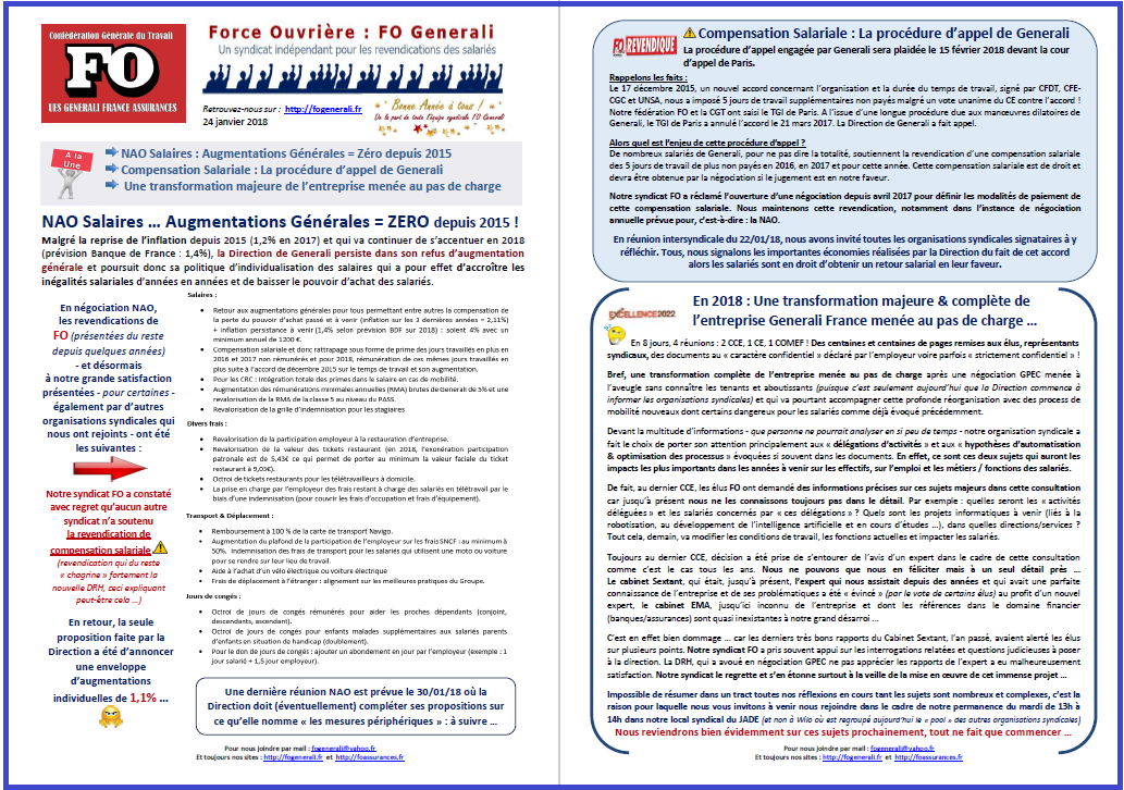 Tract FO Generali : NAO, Compensation Salariale, Excellence 2022 dans 0 - Accord Temps Travail tract-fo-generali-24-01-18