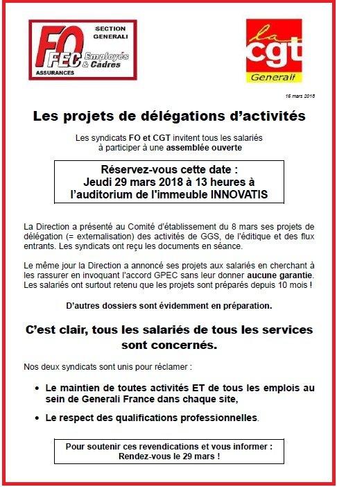 Appel FO & CGT Generali AG Salariés 29 mars 2018