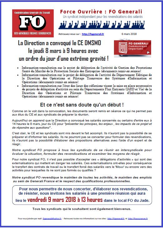 Tract FO Generali : Ordre du jour du CE du 8 mars d'une extrême gravité  dans 01 - Flash Info tract-fo-generali-06-03-18-delegation-activites