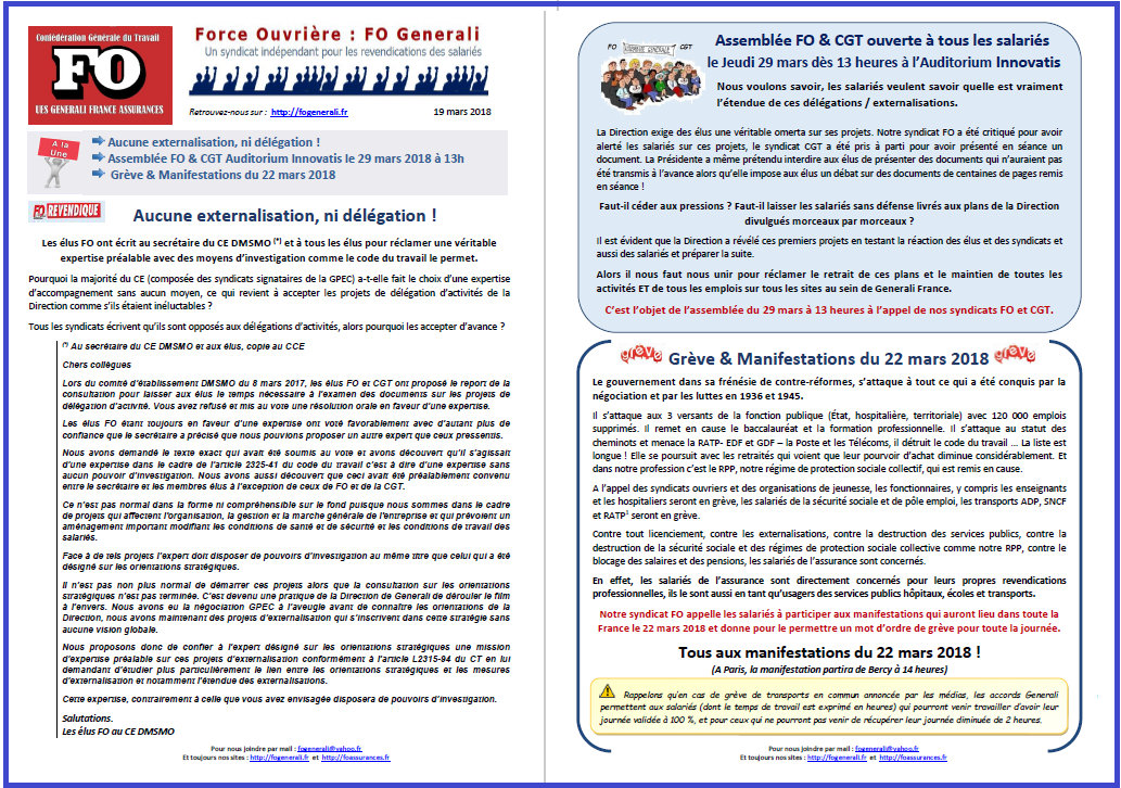 Tract FO Generali : Externalisations, AG des salariés & Grève Manifestations du 22 mars dans 1 - Revendications tract-fo-generali-19-03-18