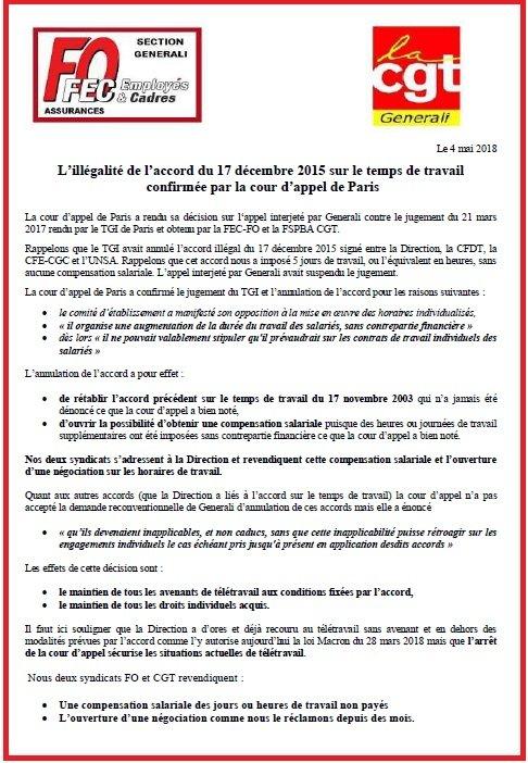 Tract FO & CGT Generali Arret Cour d'Appel du 3 mai