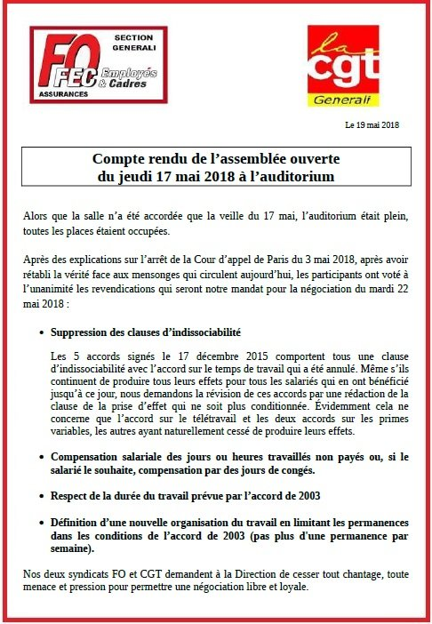 Tract FO & CGT Generali Compte Rendu AG 17/05/18