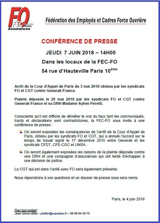Invitation FEC-FO Assurances - Conférence de presse 07/06/2018