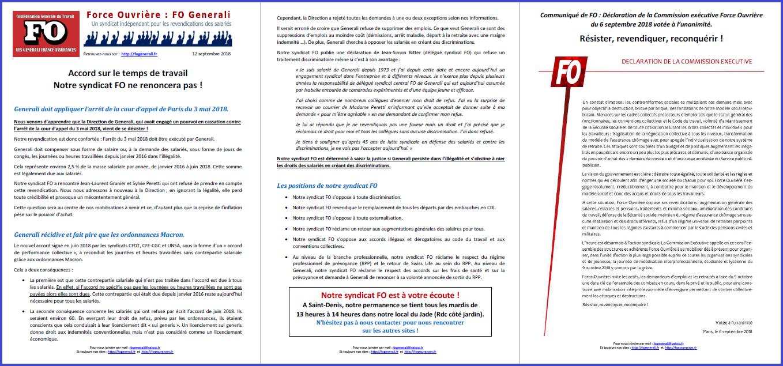 Tract FO Generali : Temps de travail FO ne renonce pas ! dans 0 - Accord Temps Travail tract-fo-generali-12-09-18
