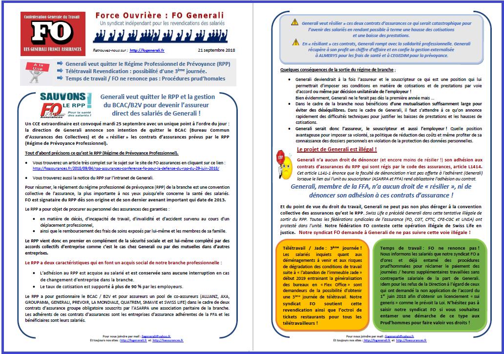 Tract FO Generali : RPP, Télétravail, Temps de travail Prud'hommes  dans 0 - Accord Temps Travail tract-fo-generali-21-09-18